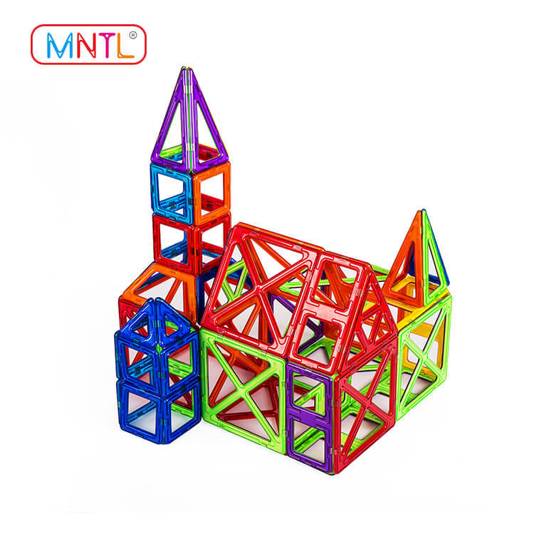MNTL Magnetic Building Blocks, A8102 78Pcs Construction Set -Rainbow Building Tiles Toy