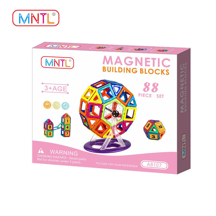 MNTL Magnetic Blocks – A8107 88pcs Set - 3D Building Educational Toys for Boys and Girls