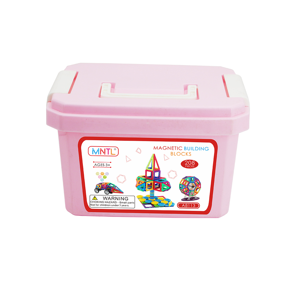 MNTL Rotatable Magnetic Building Blocks Toys A8113 208 PCS Magnetic Tiles for Kids