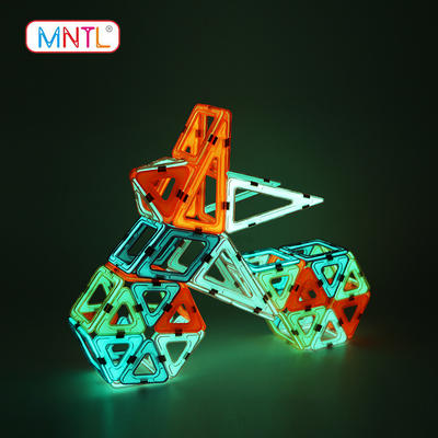 MNTL Value Set : Educational Glowing 62 Pieces Plastic Toy Magnetic Blocks Toys A8114G Set.
