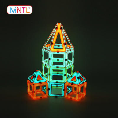 Glowing Plastic Magnetic Blocks Set, Kids Magnetic Toy, MNTL 102 Piece Educational Toys for Ages 3+