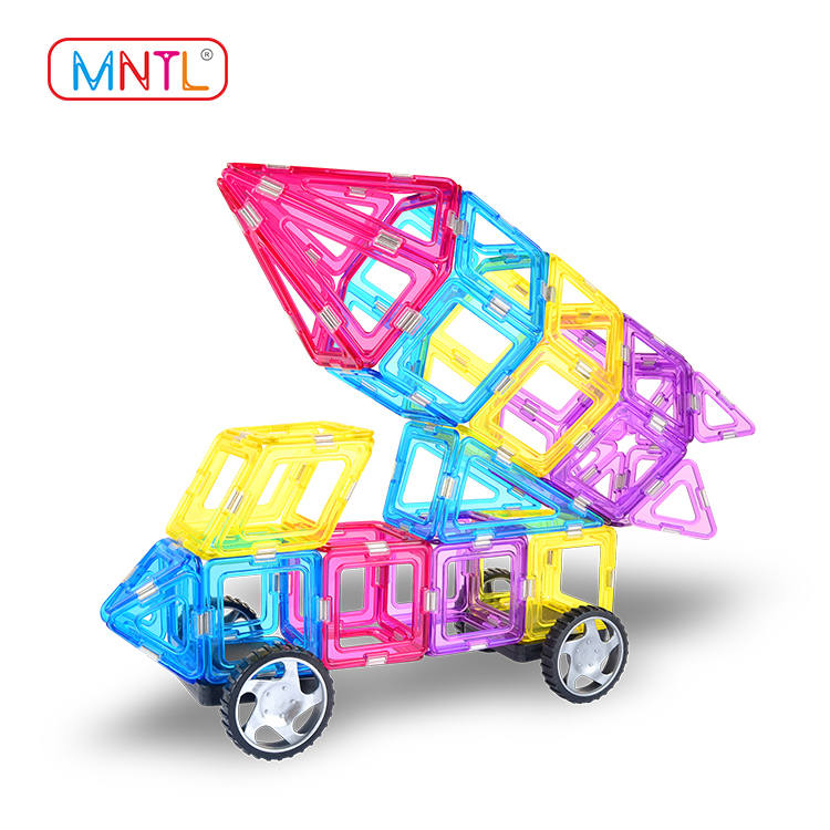 MNTL Crystal Color Magnetic Blocks for kids A8206 119 PCS - Magnetic Tiles / Magnetic Blocks For Toddlers - Includes Booklet and Pair of Wheels