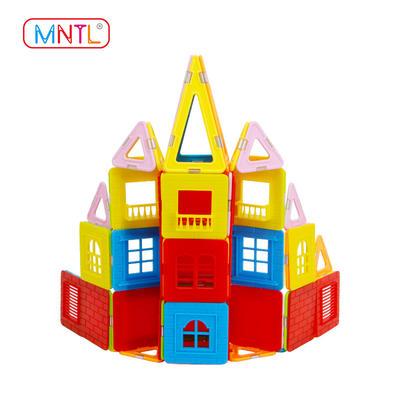 MNTL Magnetic Building Blocks Set, A8212 130 Pcs with Windows Balcony Kids Toys Plastic