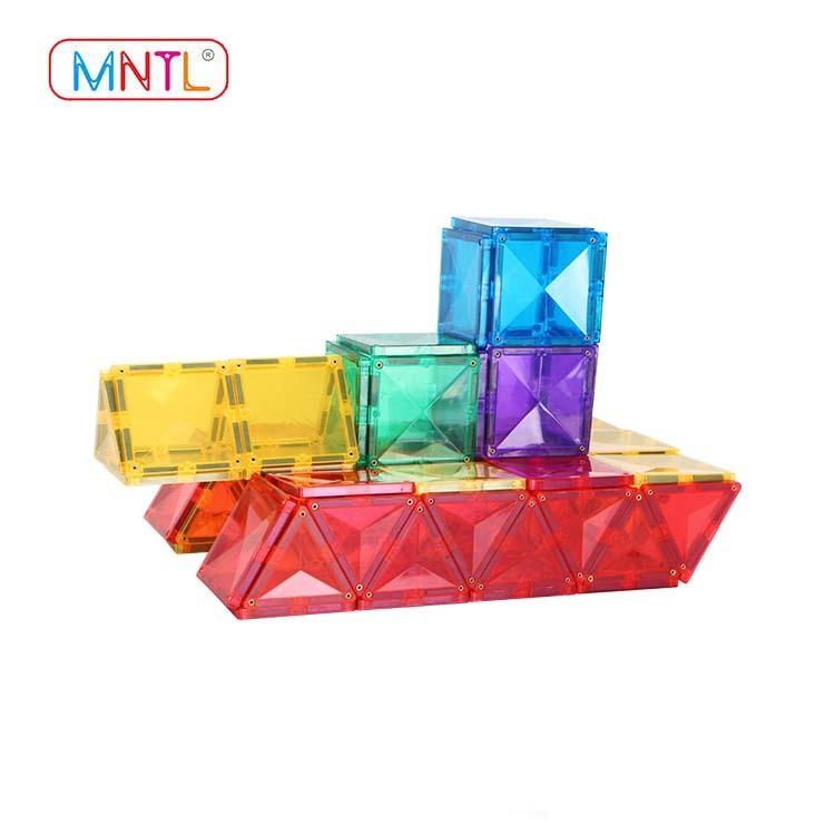 MNTL Vivid Clear Colors 3D Magnet Tiles Toys with Car Set