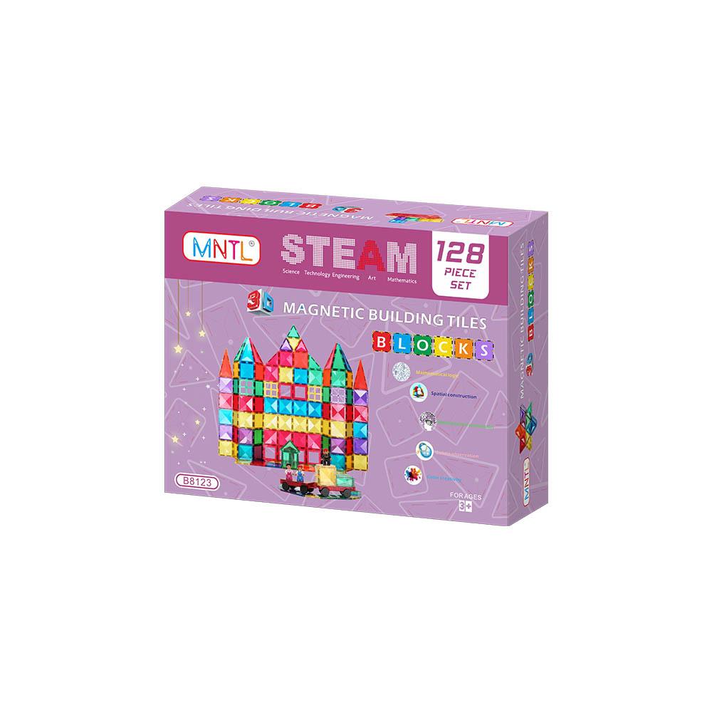 MNTL Children Hub 128PCS Magnetic Tiles B8123 Set - Building Construction Toys for Kids