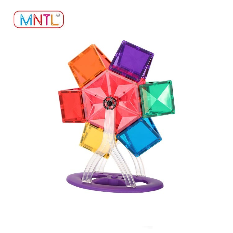 MNTL Magnetic Building Blocks, 46PCS Magnetic Tiles, 3D Magnet Building Toys set for Kids, With Strong Metallic Rivets