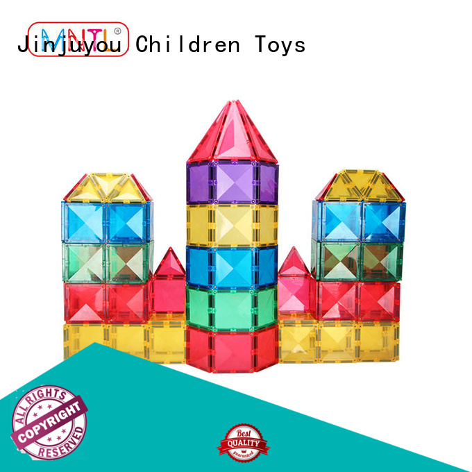 MNTL Vivid Clear Colors 3D Magnet Tiles Toys with Car Set