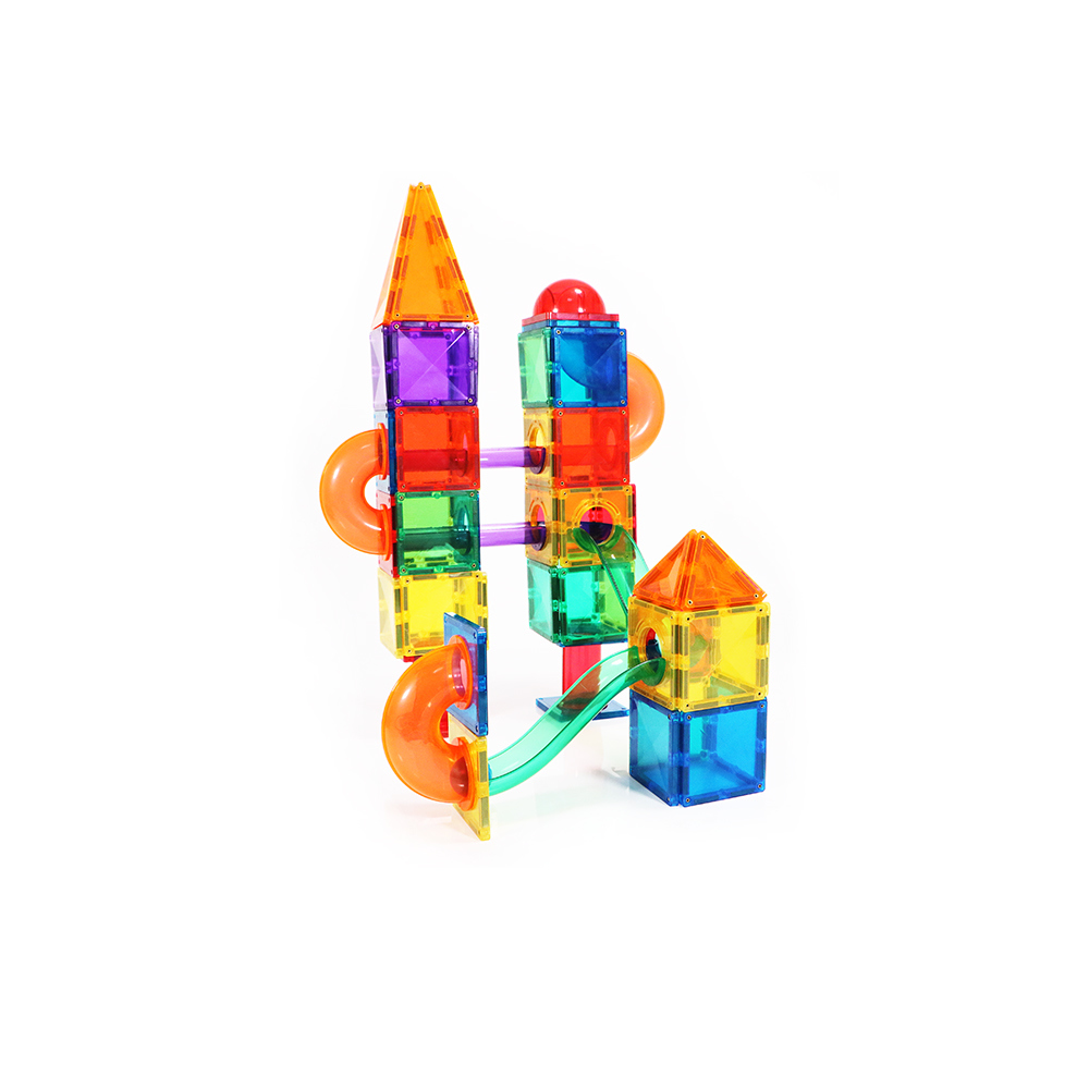 New style educational 55pcs plastic marble run magnetic toys race track magnetic tiles